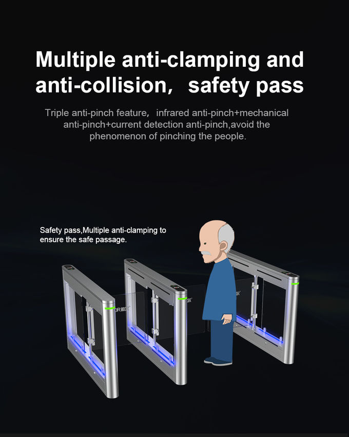 Steel Laser Cutting Pedestrian Turnstile Gate With Facial Recognition Dry Contact